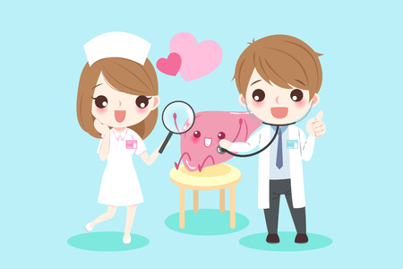Cute cartoon doctors with liver for your health concept