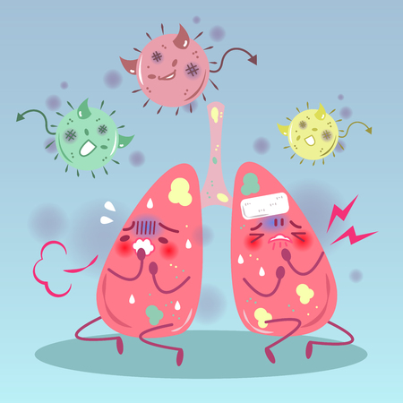 Cute cartoon lung with health concept on blue background Illustration