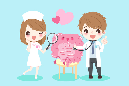 Cute cartoon doctors with intestine for your health concept