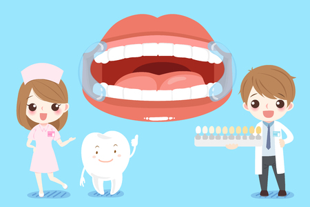 Cute cartoon dentist with tooth health concept on blue background