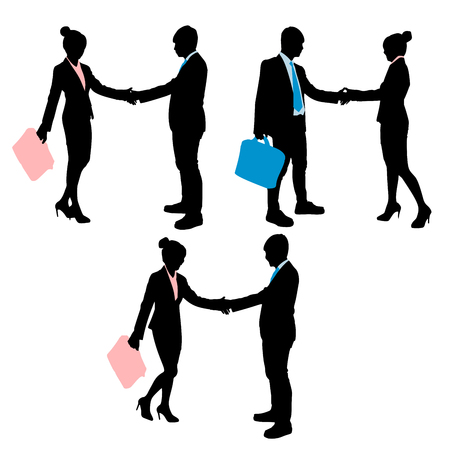 Silhouette of businesspeople shake hand on white background Illustration