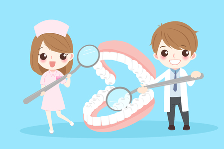 Cute cartoon dentist with denture on blue background Çizim