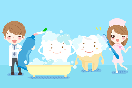 Cute cartoon dentist brush tooth on blue background