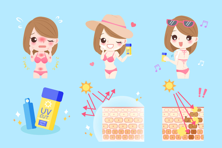 Cute cartoon woman with sunscreen before and after