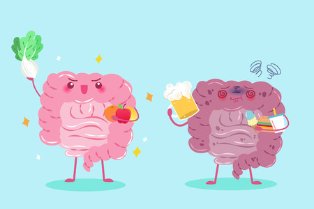 cute cartoon intestine with health concept on green background Vectores