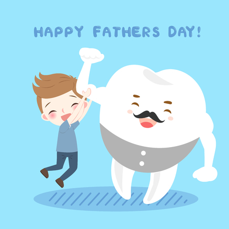 cute cartoon bloy and tooth on the blue background