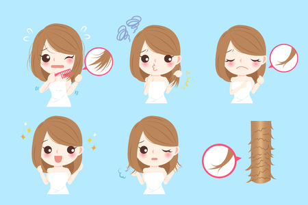Cute cartoon woman with problem of split ends Ilustração