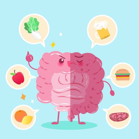 digestive: Cute cartoon intestine with health concept on green background Illustration