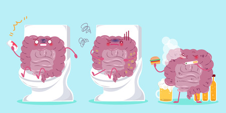 rectum: Cute cartoon intestine with health concept on green background Illustration