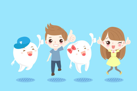 Cute cartoon children with tooth on the blue background