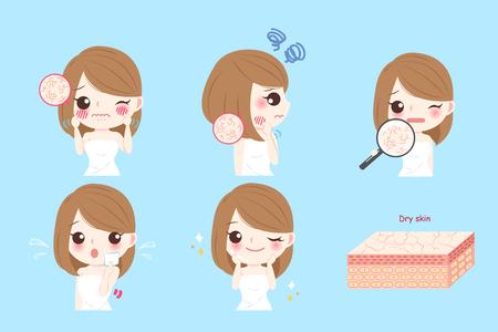 Donna di cartone animato con la pelle secca prima e dopo