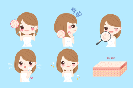 cartoon woman with skin dry before and after