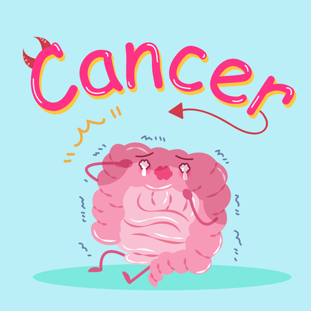 colorectal cancer: cute cartoon intestine cry on the green background