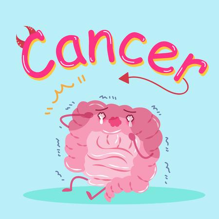 rectum: cute cartoon intestine cry on the green background
