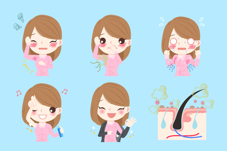 cartoon businesswoman with body odor before and after Illustration