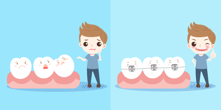 display problem: cute cartoon boy with tooth and brace Illustration