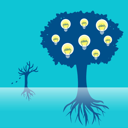 cartoon tree with light bulb on the blue background Illustration