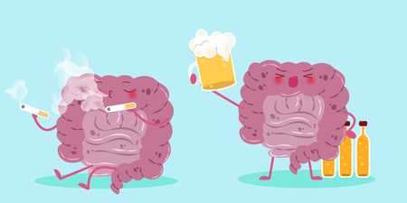 rectum: cute cartoon intestine with cigarette and beer
