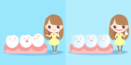 display problem: cute cartoon girl with tooth and brace Illustration