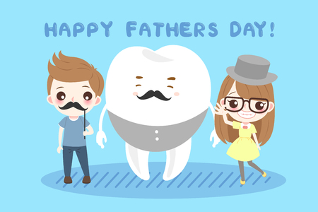cute cartoon children and tooth on the blue background