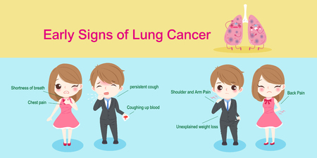 unexplained: People with lungs cancer concept on blue background Illustration