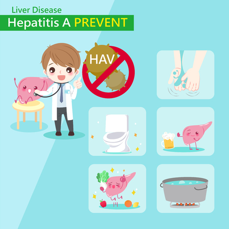 Cute cartoon doctor with hepatitis A prevent concept Çizim