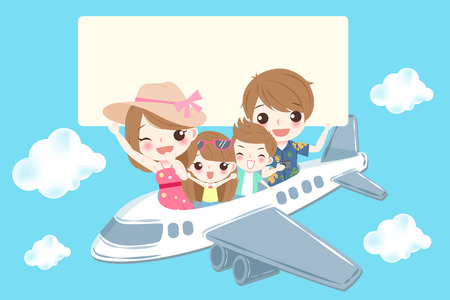 cute cartoon family smile happily on the blue background