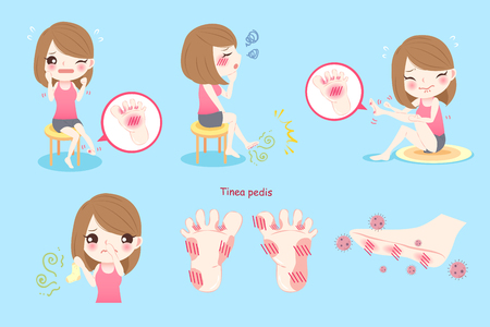 Woman feel pain with tinea pedis on blue background