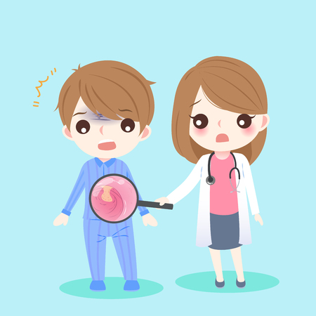 colorectal cancer: Cute cartoon doctor and patient with intestine  health concept