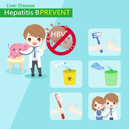 Cute cartoon doctor with hepatitis b prevent