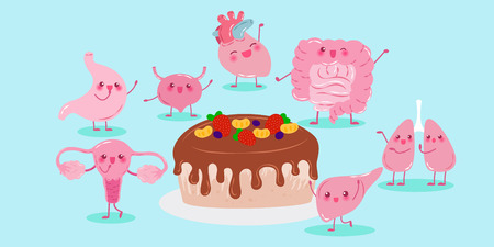 cute cartoon different organ with cake on green background Illustration