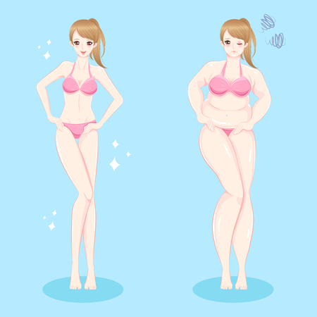 beauty woman weight loss concept concept before and after