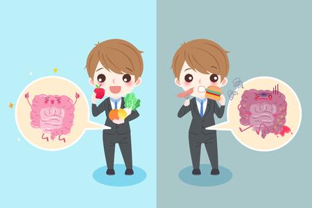 ileum: cute cartoon businessman with intestine health concept