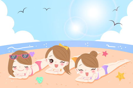 beauty cartoon women with sunscreen on the beach