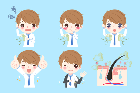 intolerable: cute cartoon man with body odor problem on blue background Illustration