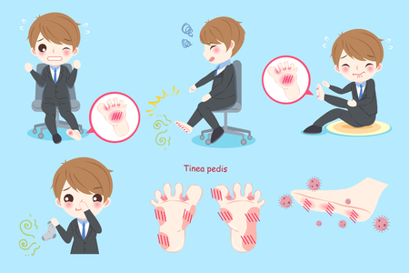 businessman feel pain with tinea pedis on blue background