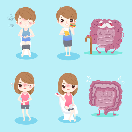 rectum: cute cartoon people with intestine health concept