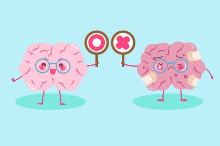 cute cartoon brain take circle and cross  signs on green background