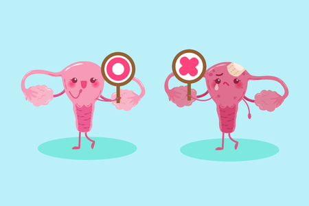 cute cartoon uterus take circle and cross  signs on green background