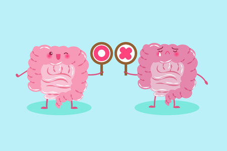 rectum: cute cartoon intestine take circle and cross  signs on green background Illustration