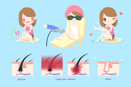 beauty smile: beauty woman smile happily with laser leg hair concept Illustration