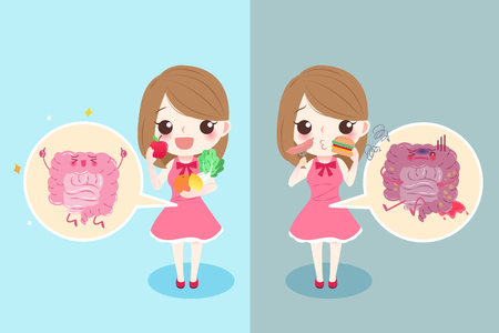 alimentary: cute cartoon woman with intestine health concept Illustration