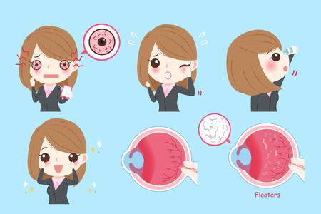 Cartoon businesswoman with eye problem on green background.