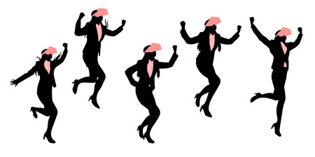 woman cellphone: Silhouette of businesswoman wear vr and feel excited. Illustration