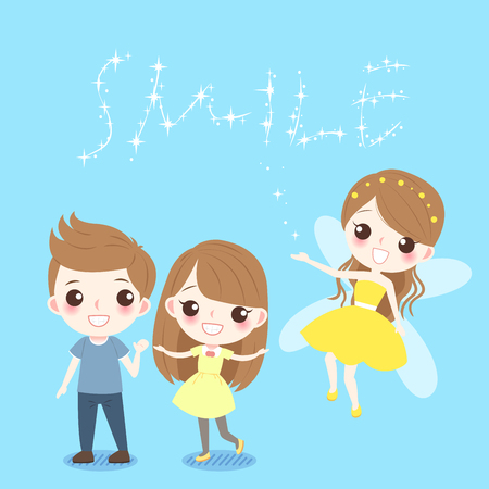 Cute cartoon children with tooth fairy on the blue background. Illustration