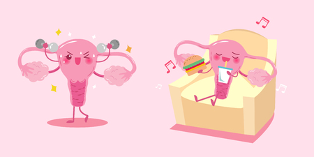 pregnancy exercise: Cute cartoon uterus with health concept on pink background.