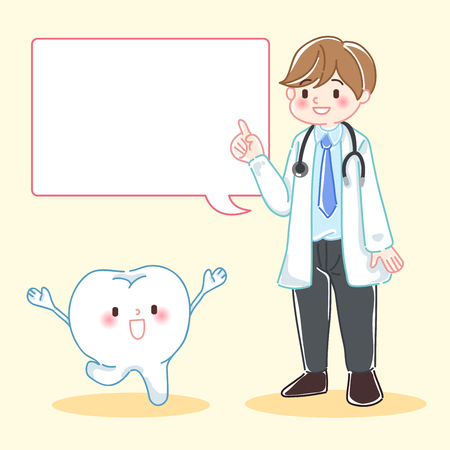 Cute cartoon doctor with tooth on the white background.  イラスト・ベクター素材