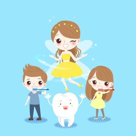 Cute cartoon children smile happily with tooth fairy. Illustration