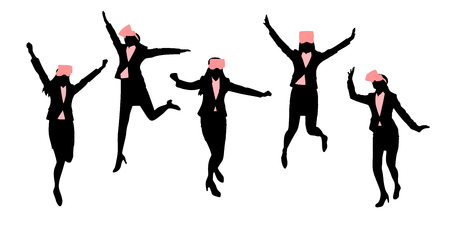 Silhouette of businesswoman wear vr and feel excited. Illustration