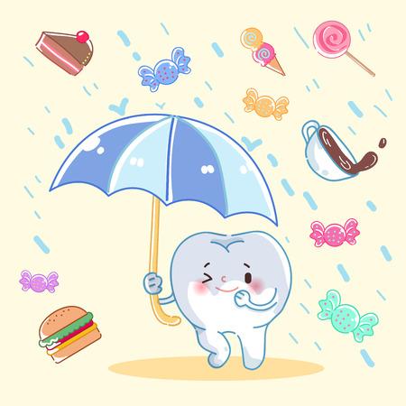 Diente lindo de la historieta que sostiene la comida basura del bloque del paraguas. Vectores